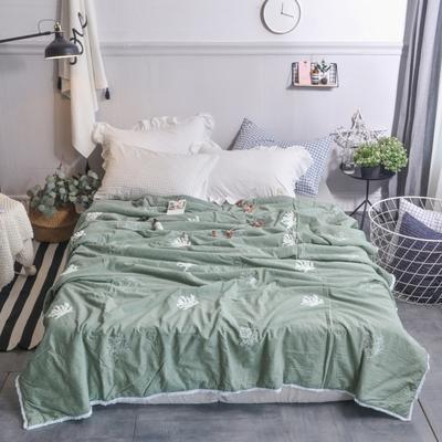 航航家居 毛巾绣色织水洗棉夏被 150x200cm 珊瑚绿色