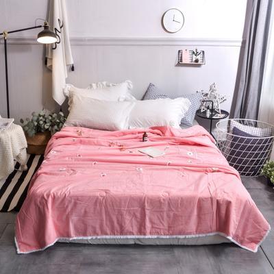 航航家居 毛巾绣色织水洗棉夏被 150x200cm 小雏菊粉红