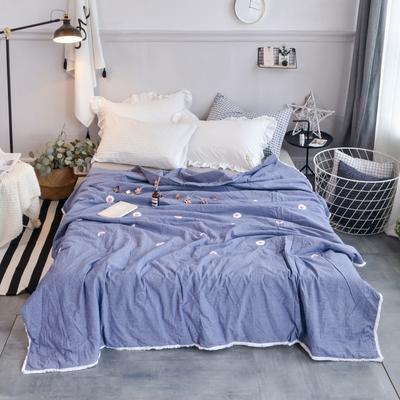 航航家居 毛巾绣色织水洗棉夏被 150x200cm 小雏菊牛仔蓝
