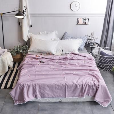 航航家居 毛巾绣色织水洗棉夏被 150x200cm 小雏菊紫色