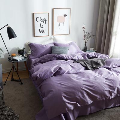 航航家居 60支长绒棉贡缎纯色四件套 2.0米床/床笠款 3高贵紫