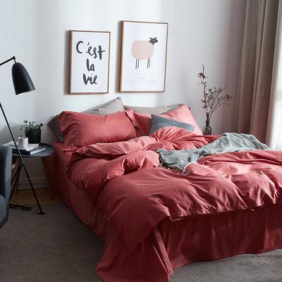 航航家居 60支长绒棉贡缎纯色四件套 1.8米床/床单款 8珊瑚红