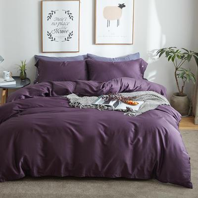 航航家居 60支长绒棉贡缎纯色四件套 2.0米床/床笠款 16冷艳紫