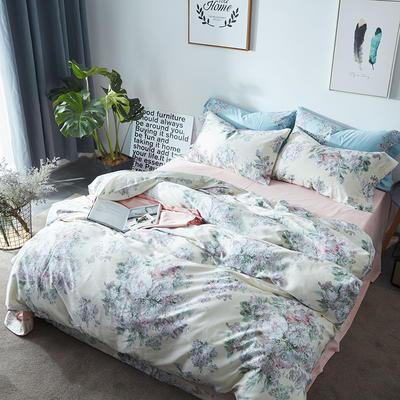 航航家居 60支长绒棉贡缎印花四件套 1.5米床/床单款 蔷薇花开