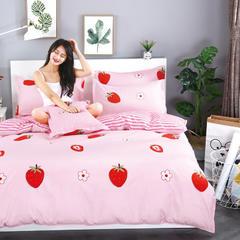 2018新款芦荟棉四件套最新带模特图片 1.2m(4英尺)床 甜甜草莓(抱枕套40*40cm/对)