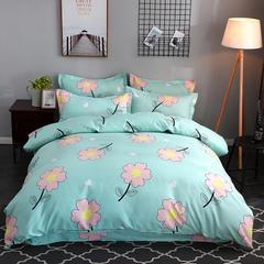 2018新款140克加厚活性斜纹磨毛植物羊绒四件套 2.2m(7英尺)床 小花朵朵
