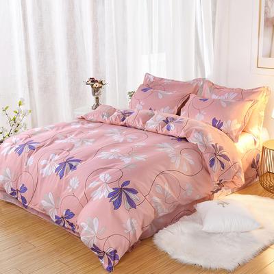 2019新款140克加厚活性斜纹磨毛植物羊绒四件套 1.5m(5英尺)床 花之恋