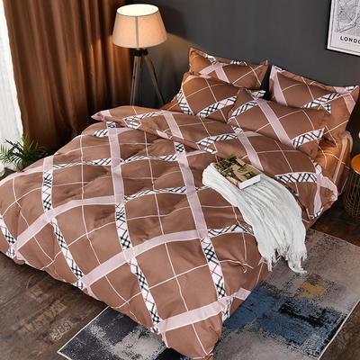 2019新款140克加厚活性斜纹磨毛植物羊绒四件套 1.5m(5英尺)床 咖啡格