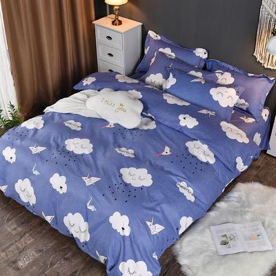 2019新款140克加厚活性斜纹磨毛植物羊绒四件套 1.5m(5英尺)床 千纸鹤