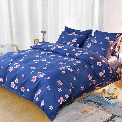 2019新款140克加厚活性斜纹磨毛植物羊绒四件套 1.5m(5英尺)床 桃花朵朵