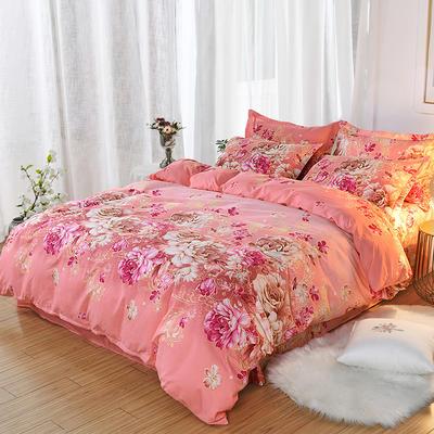 2019新款140克加厚活性斜纹磨毛植物羊绒四件套 1.5m(5英尺)床 妩媚花王