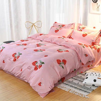 2019新款140克加厚活性斜纹磨毛植物羊绒四件套 1.5m(5英尺)床 小草莓