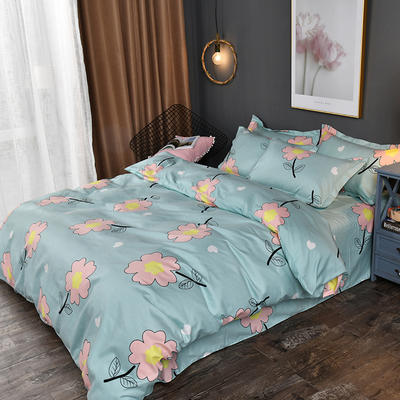 2019新款140克加厚活性斜纹磨毛植物羊绒四件套 1.5m(5英尺)床 小花朵朵