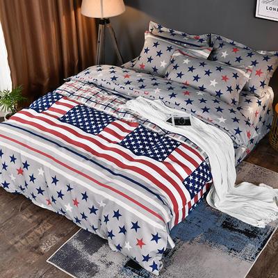 2019新款140克加厚活性斜纹磨毛植物羊绒四件套 1.5m(5英尺)床 星条旗