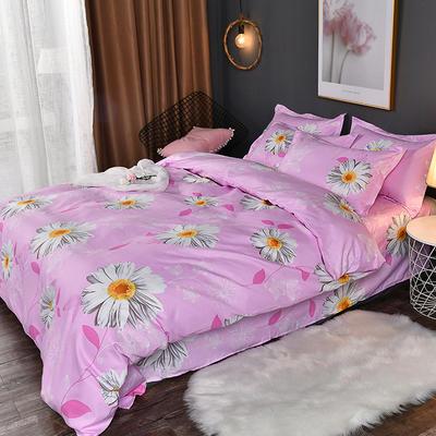 2019新款140克加厚活性斜纹磨毛植物羊绒四件套 1.5m(5英尺)床 洋柑菊
