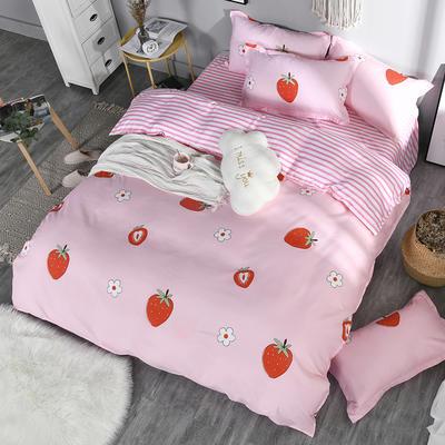 2019新款活性加厚磨毛芦荟棉印花单被套 150x200cm 甜甜草莓