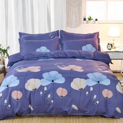 2019新款床单式时尚印花芦荟棉磨毛四件套 1.2m(4英尺)床 飘舞-紫