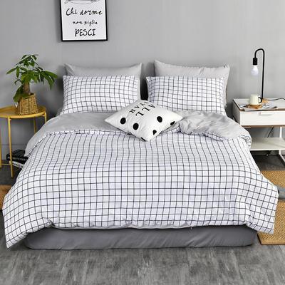2019新款水洗棉四件套 2.0m(6.6英尺)床 白小格