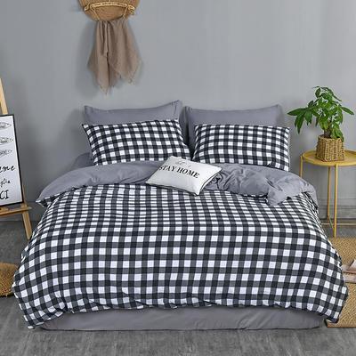 2019新款水洗棉四件套 2.0m(6.6英尺)床 黑小格