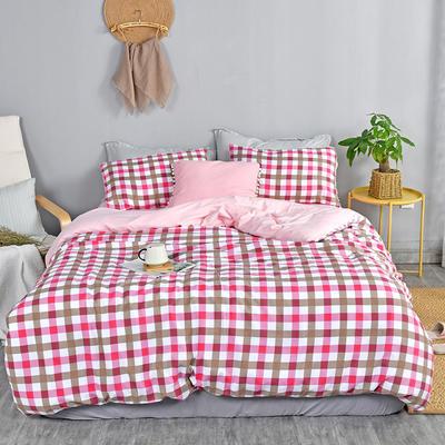 2019新款水洗棉四件套 2.0m(6.6英尺)床 红小格