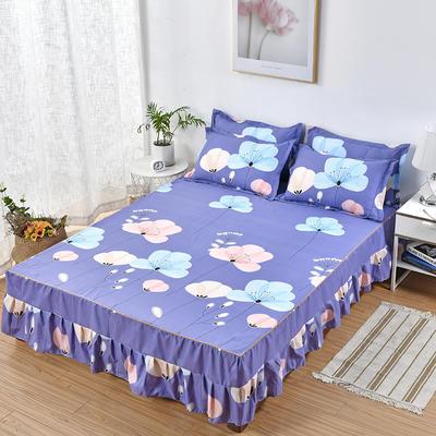 2019新款芦荟棉磨毛床裙三件套 1.2m(床裙三件套) 飘舞-紫