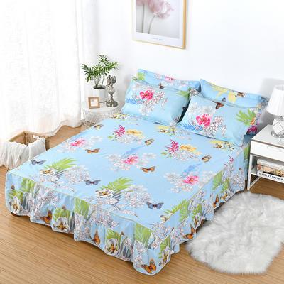 2019新款芦荟棉磨毛床裙三件套 1.2m(床裙三件套) 甜蜜花丛-蓝