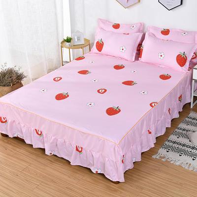 2019新款芦荟棉磨毛床裙三件套 1.2m(床裙三件套) 甜甜草莓