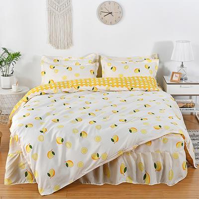 2019新款芦荟棉磨毛床裙四件套 1.2m(床裙四件套) 柠檬+C