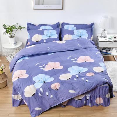 2019新款芦荟棉磨毛床裙四件套 1.2m(床裙四件套) 飘舞-紫