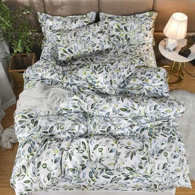 2019新款140克加厚活性斜纹磨毛植物羊绒四件套 1.5m(5英尺)床 叶叶情深