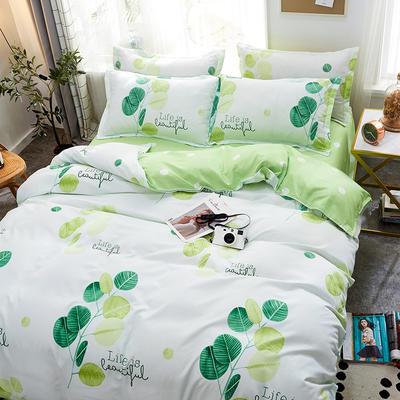 2019新款床单式时尚印花芦荟棉磨毛四件套 1.2m(4英尺)床 生活美好