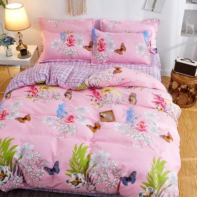 2019新款床单式时尚印花芦荟棉磨毛四件套 1.2m(4英尺)床 甜蜜花丛-粉