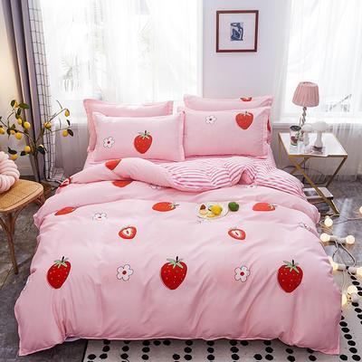 2019新款床单式时尚印花芦荟棉磨毛四件套 1.2m(4英尺)床 甜甜草莓
