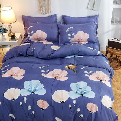 2019新款床单式时尚印花芦荟棉磨毛四件套 1.2m(4英尺)床 飘舞 紫