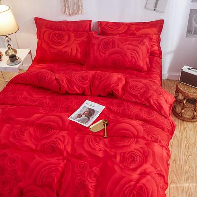 2019新款床单式时尚印花芦荟棉磨毛四件套 1.2m(4英尺)床 挚爱玫瑰