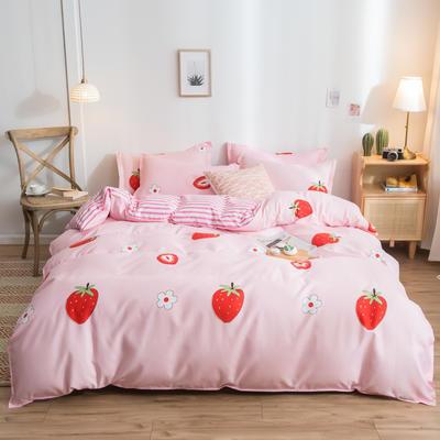 2019新款加厚活性磨毛芦荟棉四件套 1.2m床单款三件套 甜甜草莓