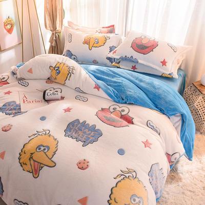 2019雪花絨法萊絨四件套法蘭絨珊瑚絨三件套雙面牛奶絨寶寶絨 1.2m(4英尺)床(三件套) 芝麻街