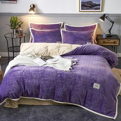 2019新款色織剪花牛奶絨四件套 1.5m床單款四件套 淺紫黃