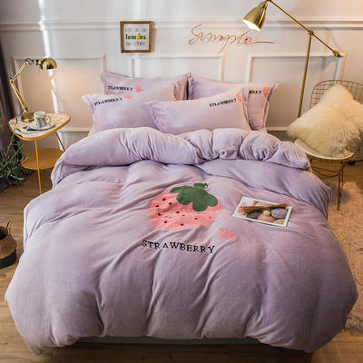 2019新款兔兔絨毛巾繡四件套 1.5m(5英尺)床單款 草莓甜心-紫