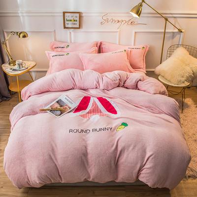 2019新款兔兔絨毛巾繡四件套 1.5m(5英尺)床單款 萌萌兔-粉