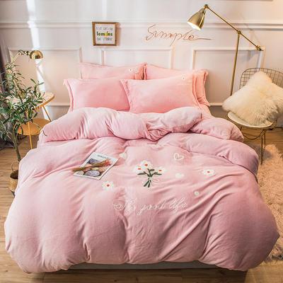2019新款兔兔絨毛巾繡四件套 1.5m(5英尺)床單款 小雛菊-粉