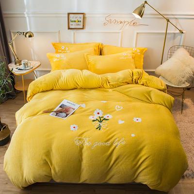 2019新款兔兔絨毛巾繡四件套 1.5m(5英尺)床單款 小雛菊-亮黃