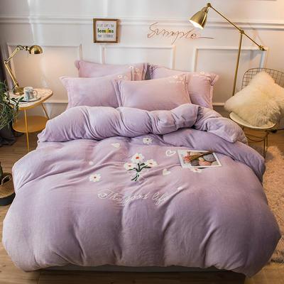 2019新款兔兔絨毛巾繡四件套 1.5m(5英尺)床單款 小雛菊-紫