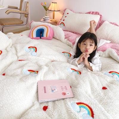 2020新款羊羔绒毛巾绣四件套 1.2m床单款三件套 爱心彩虹