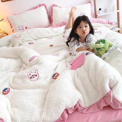 2020新款羊羔绒毛巾绣四件套 1.2m床单款三件套 草莓小兔