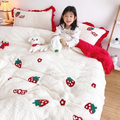 2020新款羊羔绒毛巾绣四件套 1.2m床单款三件套 小花草莓