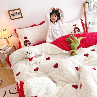 2020新款羊羔绒毛巾绣四件套 1.2m床单款三件套 心相印红