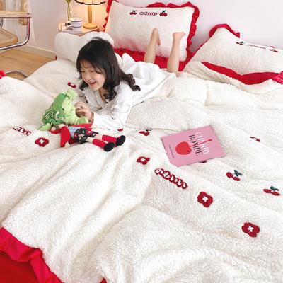 2020新款羊羔绒毛巾绣四件套 1.2m床单款三件套 樱桃小花
