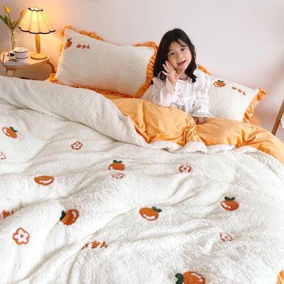 2020新款羊羔绒毛巾绣四件套 1.2m床单款三件套 优雅小橘