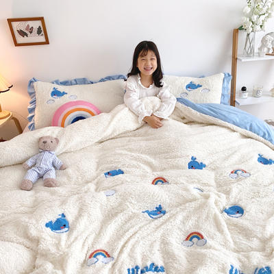 2020新款羊羔绒毛巾绣四件套 1.2m床单款三件套 云朵小鱼